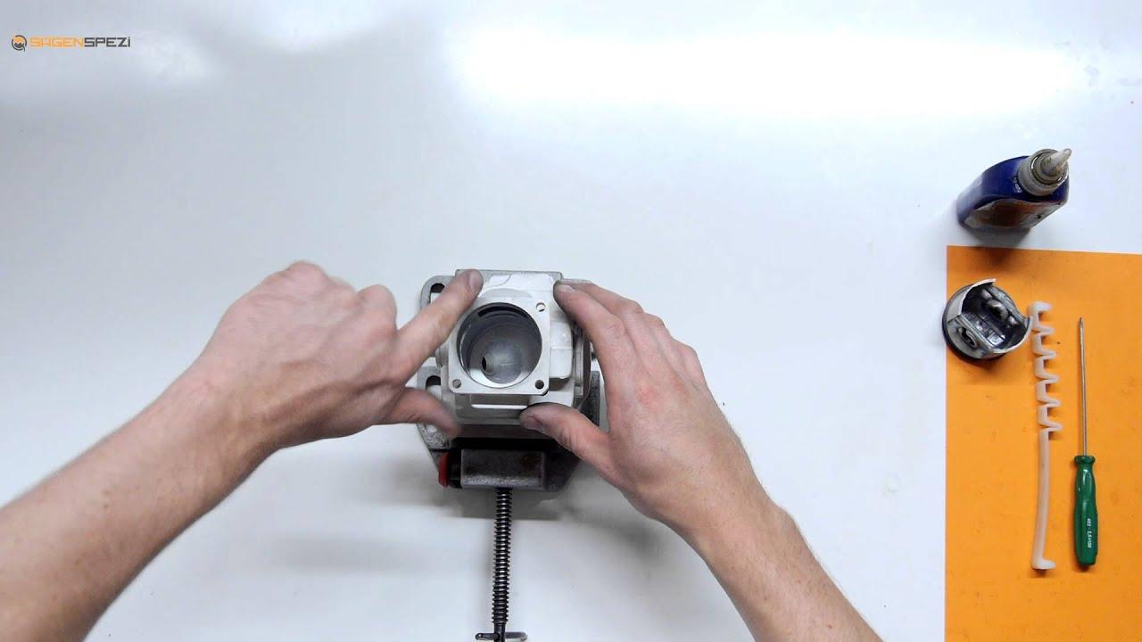 montage eines kolbens mit hilfe eines kolbenspannbands bei einer stihl motors ge youtube. Black Bedroom Furniture Sets. Home Design Ideas