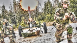 French Soldiers Fire 120mm Mortars