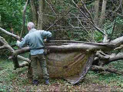 bushcraft survival basher shelter with resin fire part 1