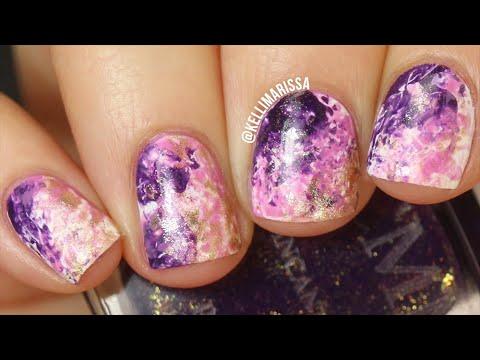 Easy Galaxy Marble Nail Art Using Saran Wrap!    KELLI MARISSA