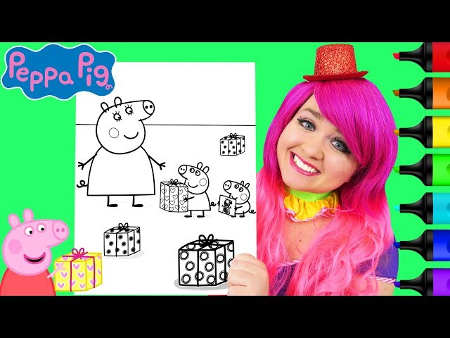 Coloring Peppa Pig & Mummy Pig Birthday Coloring Page Prismacolor Markers | KiMMi THE CLOWN