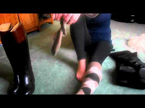 Putting On Riding Socks And Aigle Riding Boots.mp4