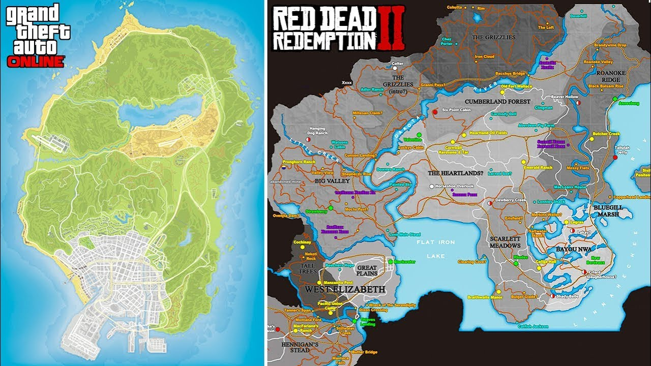 Gta S Map Vs Red Dead S Map New Treasure Hunts In Gta Online More Gta Rdr Qa
