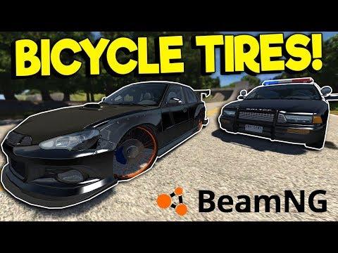 BICYCLE WHEEL POLICE CHASE! - BeamNG Drive Gameplay - Car Crash Simulator