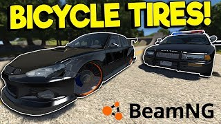 BICYCLE WHEEL POLICE CHASE! - BeamNG Drive Gameplay - Car Crash Simulator