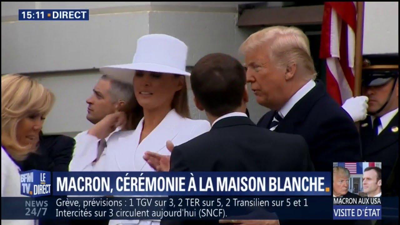 Donald et melania trump accueillent le couple macron à la maison blanche