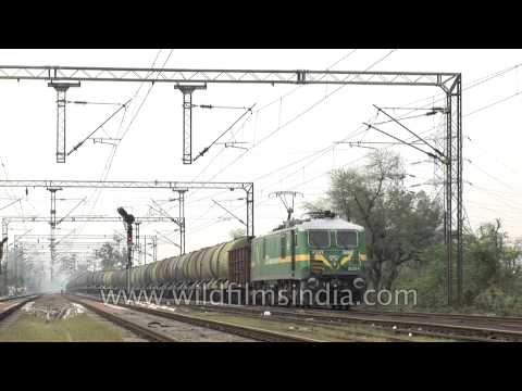 Train carrying oil tanker