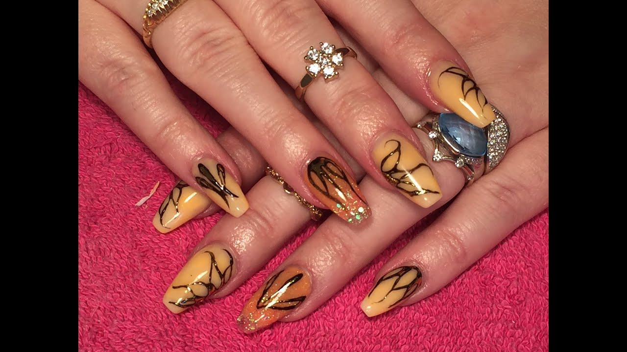 Sculpted orange ballerina/coffin Acrylic Nails - How-to ...