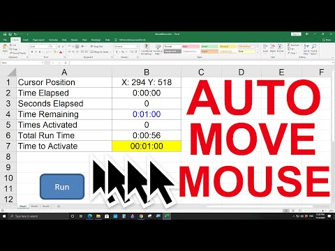 How to move the mouse cursor automatically with Excel, No more AFK