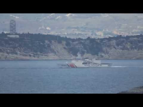 Turkish Coast Guard (Sahil Guvenlik) naval and air parade after SAR exercise.
