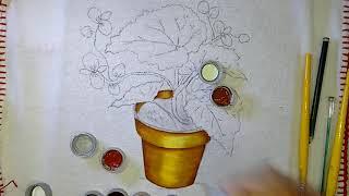 Aprenda a pintar Vaso com Begônia