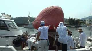 徳島県牟岐町、大島☆姫神まつり♪ かめたろうも担がせていただき 漁船に...