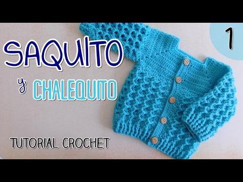 Ajuar: Saquito a crochet para bebes (1/2) - YouTube