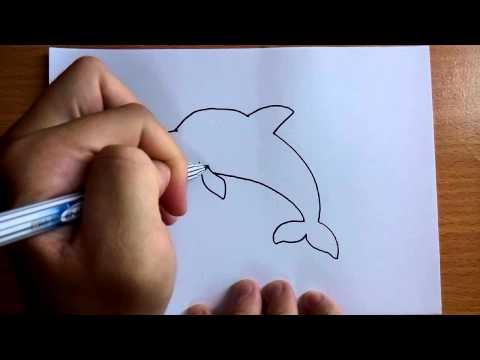 วาดการ์ตูนกันเถอะ สอนวาดการ์ตูน ปลาโลมา ง่ายๆ หัดวาดตามได้เลย