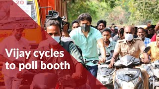 Actor Vijay cycles to TN polling booth to cast his vote #TNElections #Vijay #Voting #Cycle
