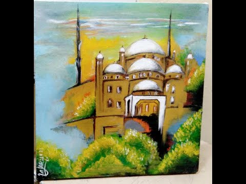 Most Beautiful Mosque Abstract Painting Tutorial Step By Step For Beginners Art With Acrylic Paints