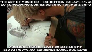 placebo create art live for cancer charity no surrender exhibition and auction nov 09