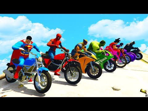 Thumbnail: LEARN COLORS SPEED BIKE and JETSKI w/ Superheroes Fun Animation for Children