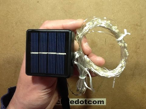 Solar LED string with resin dipped LEDs.  With schematic.