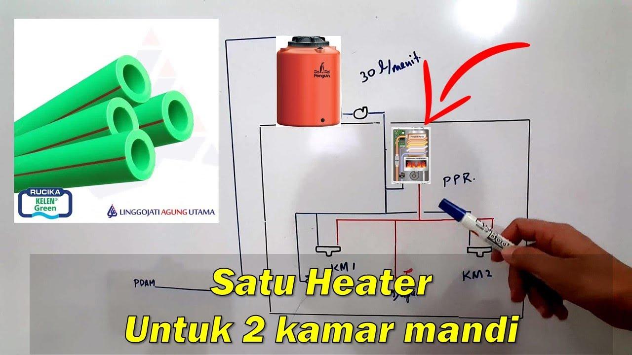 Rangkaian Pipa Satu Water Heater Pemanas Air Untuk Dua Kamar Mandi Youtube Instalasi pemanas air gas