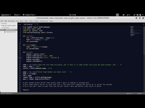 How to make PDF reader in Python using GTTS or pyttsx