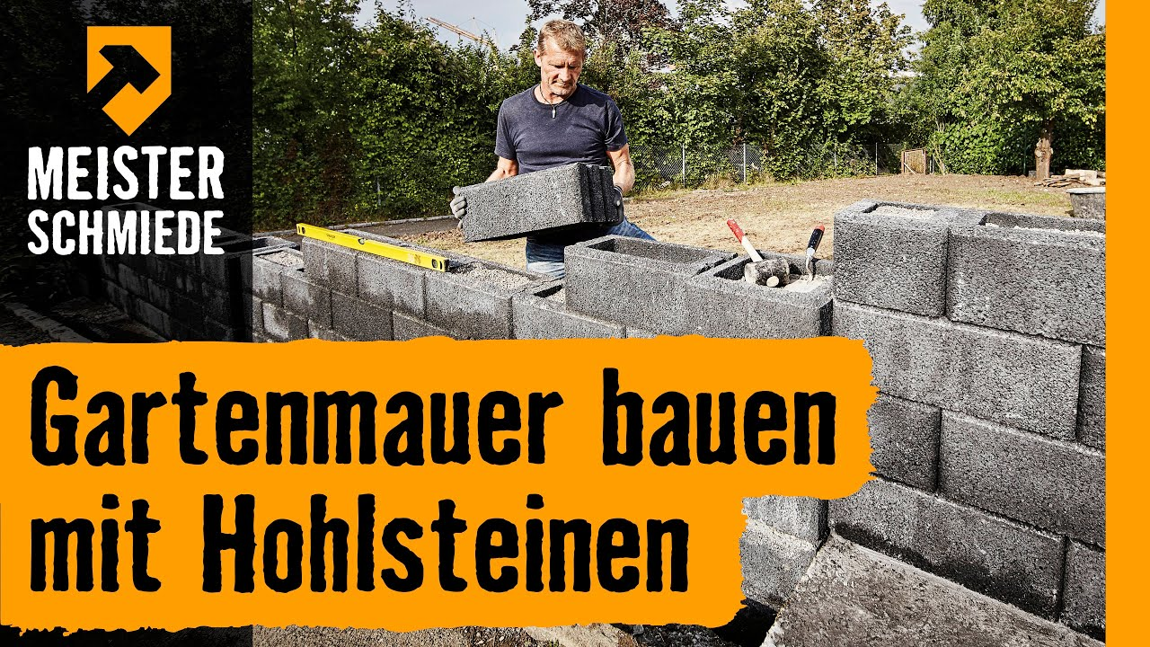 gartenmauer bauen mit hohlsteinen hornbach meisterschmiede youtube. Black Bedroom Furniture Sets. Home Design Ideas