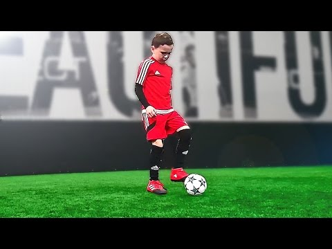 8 Year Old Kid Shows Football Skills Tutorial for Kids