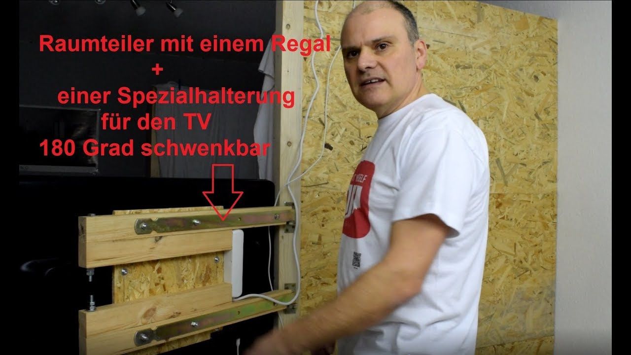 raumteiler mit einem regal bauen selbst gebaute tv halterung f r 180 grad youtube. Black Bedroom Furniture Sets. Home Design Ideas