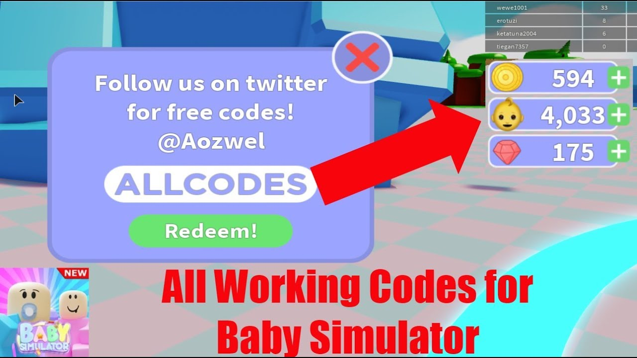 All Working Codes For Baby Simulator Roblox Youtube