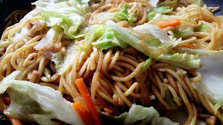 How to Cook Pancit Canton Noodles (Flour Stick) With Fried Chicken And Vegetables