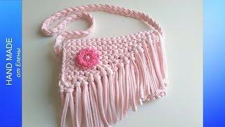 Детская сумочка спицами. Очень простая сумочка платочной вязкой.