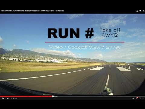 Take-off from the REUNION Island - Roland Garros airport - (RUN/FMEE) France - Cockpit view