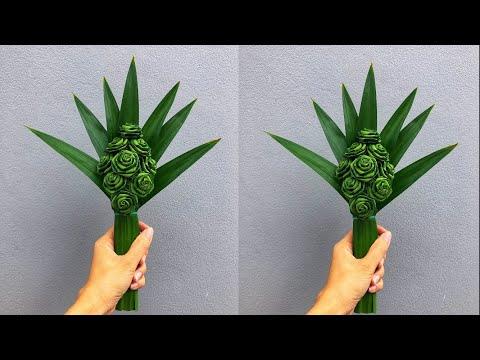 พับใบเตยดอกกุหลาบ และวิธีเข้าช่อ สำหรับไปไหว้พระ   DIY Pandan leaves 🍀🍀🍀   MeeDee DIY