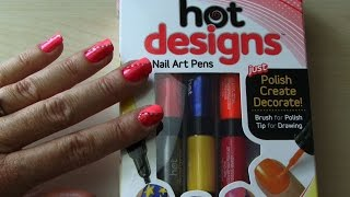 HOT DESIGNS NAIL ART PENS How to Use & Review