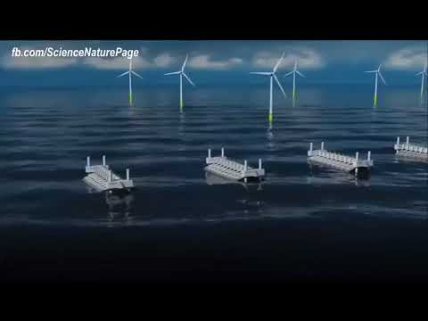 Ocean Power Plant Generating Energy From Waves Creating Unlimited Cheap Clean Electricity