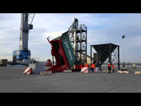 Bulk Grain Container Loader with Aries Logistics Constanta Romania using A-Ward Tilter