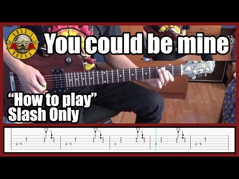 Guns N' Roses You Could Be Mine SLASH ONLY With Tabs | Rhythm Guitar