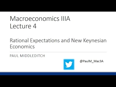 Lecture 4: Rational Expectations and New Keynesian Economics