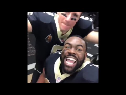 New Orleans Saints Players Celebrate Playoff Win