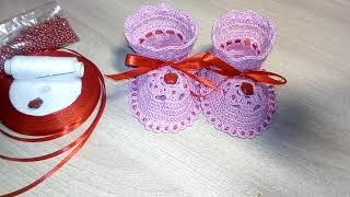 Вязание пинеток  крючком. Для новорожденной. МК.