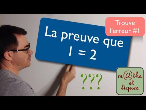 La preuve que 1 = 2 - Trouve l'erreur#1