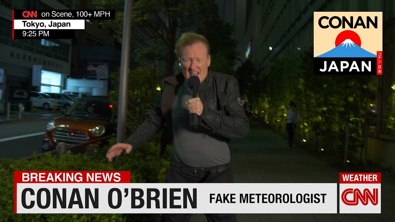 Fake Meteorologist Conan O'Brien Reports From Japan