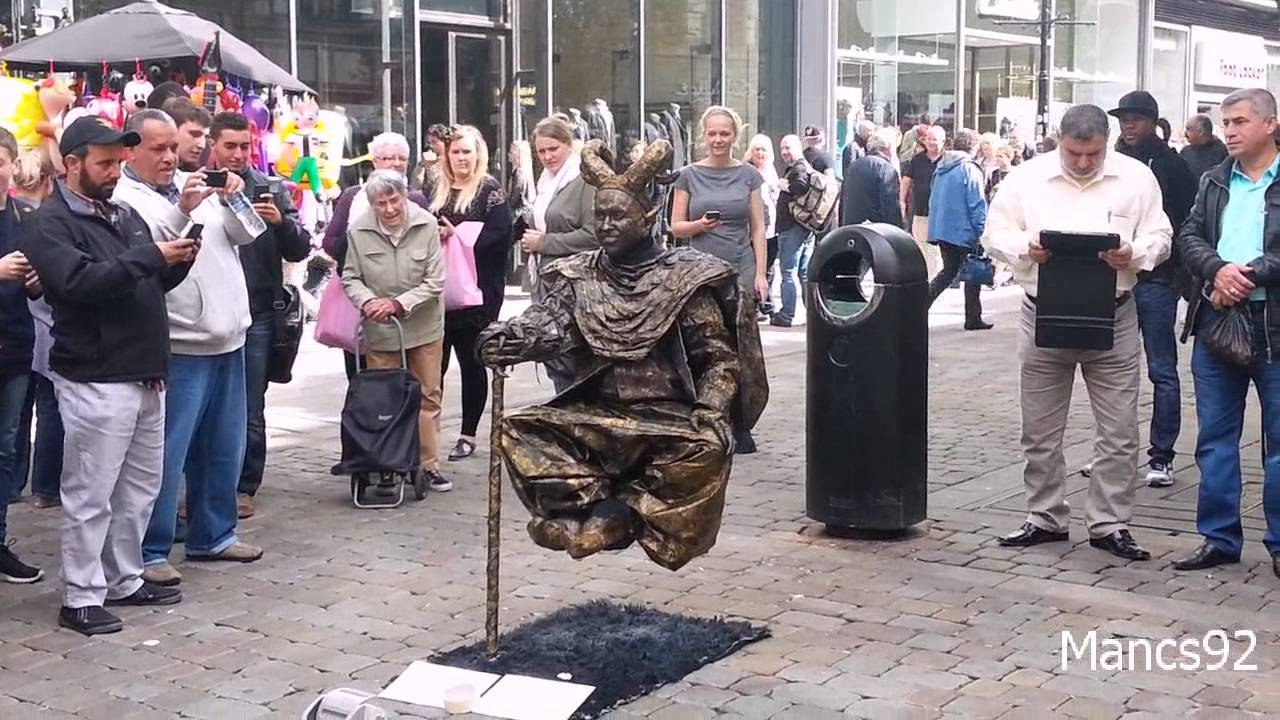Levitating Human Statue Street Performer In Manchester