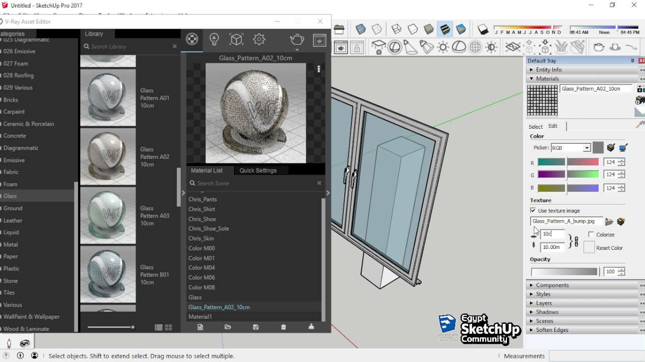 Glass Transparency V Ray Material Sketchup Youtube