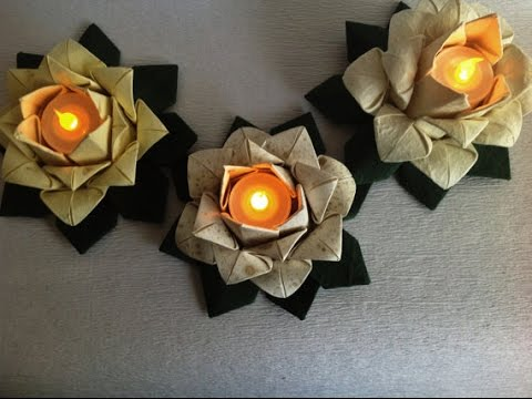 Origami lotus. Candle -Table decoration. 20 petal origami lotus