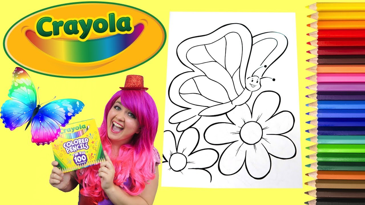 coloring a butterfly crayola coloring book page colored pencil kimmi the clown