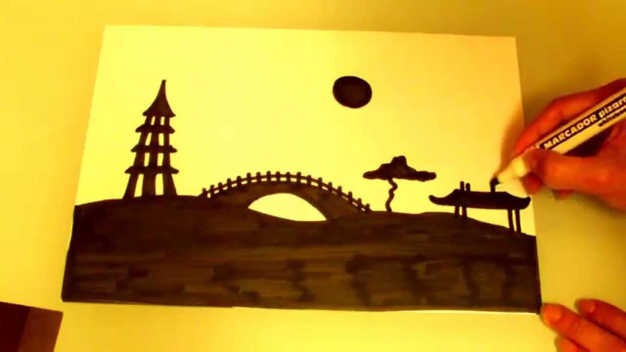 Dibuja Un Paisaje Chino Draw A Chinese Landscape Youtube