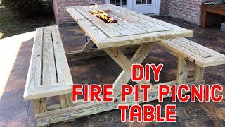 DIY Fire Pit Picnic Table