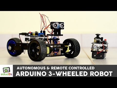 Arduino Project: 3 Wheeled Robot with remote contol or autonomous navigation!