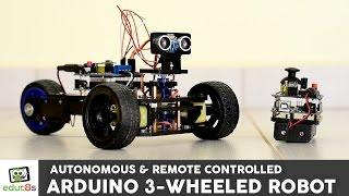 Arduino Project: 3 Wheeled Robot with remote contol or autonomous navigation! - educ8s.tv